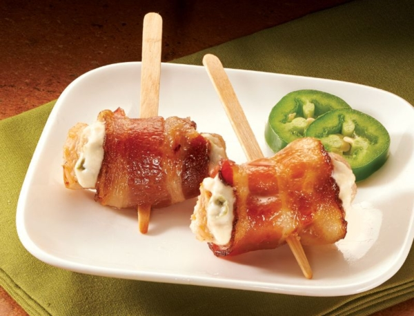 Bacon Wrapped Chicken Jalapeno Cheese Skewers